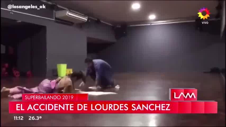 La brutal caída de Lourdes Sánchez en el Bailando