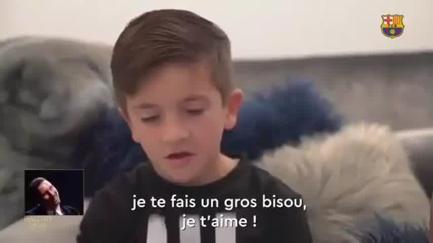 Messi homenajeado por sus hijos