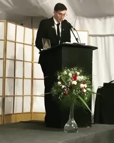Agustín Suárez en la entrega de premios