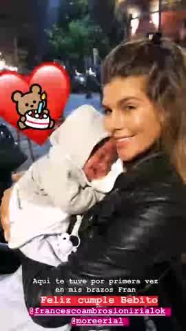 Loly Antoniale, a Francesco Ambrosioni en su primer año de vida