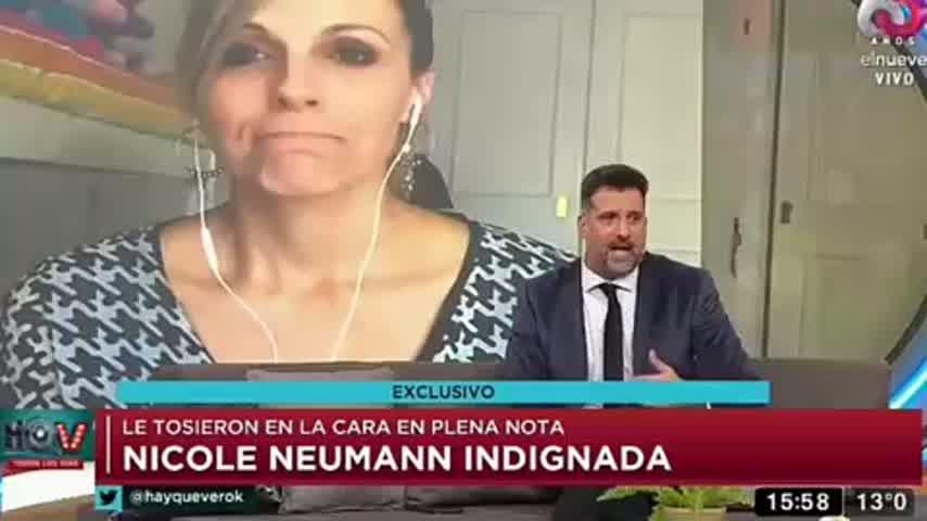 La tremenda reacción de Nicole Neumann cuando le estornudaron en plena nota