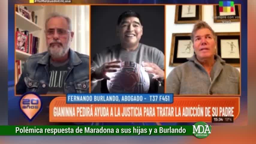 """Maradona le respondió a sus hijas y a Burlando: \""""PRESO, LAS PELOTAS\"""""""